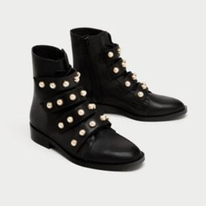 Zara Pearl strap ankle moto boots booties